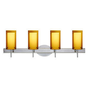 Pahu 4 Chrome Four-Light LED Bath Vanity with Transparent Armagnac Glass