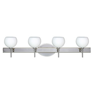 Palla 5 Chrome Four-Light LED Bath Vanity with Opal Matte Glass