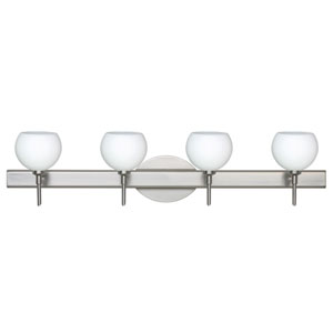 Palla 5 Satin Nickel Four-Light LED Bath Vanity with Opal Matte Glass