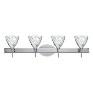 Mia Chrome Four-Light LED Bath Vanity with Marble Grigio Glass