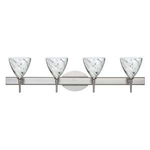 Mia Satin Nickel Four-Light LED Bath Vanity with Marble Grigio Glass