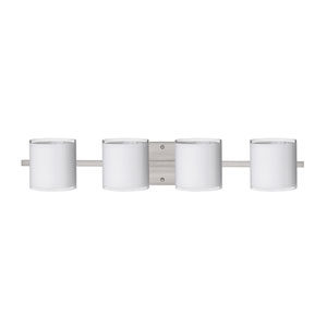 Pogo Satin Nickel Four-Light Bath Fixture with White and Inner Silver Glass