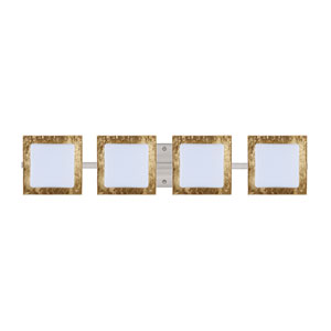 Series 7735 Opal/Gold Foil Satin Nickel Four-Light Bath Fixture