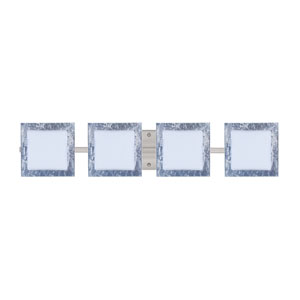 Series 7735 Opal/Silver Foil Satin Nickel Four-Light Bath Fixture