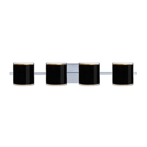 Pogo Chrome Four-Light LED Bath Vanity with Black Glass
