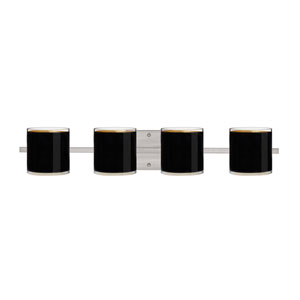 Pogo Satin Nickel Four-Light LED Bath Vanity with Black Glass