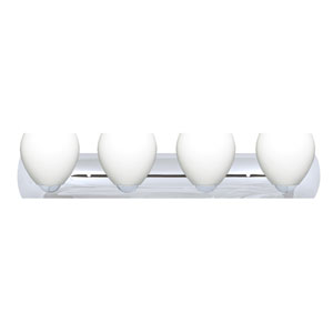 Bolla Chrome Four-Light Bath Fixture with Opal Matte Glass