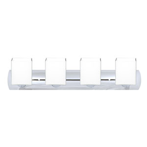 Rise Wall Chrome Four-Light Bath Fixture with Opal Matte Glass