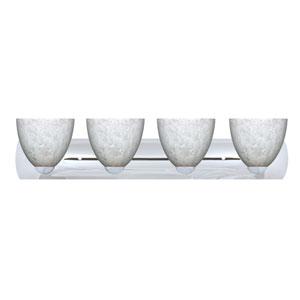 Sasha Chrome Four-Light Bath Fixture with Carrera Glass