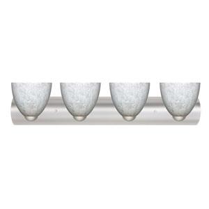 Sasha II Satin Nickel Four-Light Bath Fixture with Carrera Glass