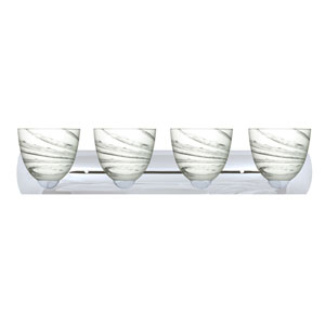 Sasha Chrome Four-Light Bath Fixture with Marble Grigio Glass