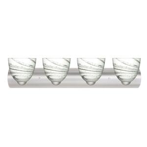Sasha II Satin Nickel Four-Light Bath Fixture with Marble Grigio Glass