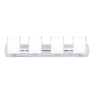 Rise Chrome Four-Light LED Bath Vanity with Opal Matte Glass