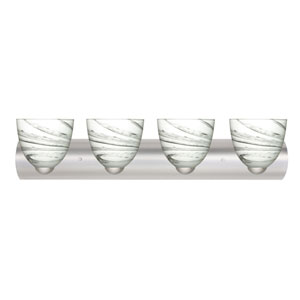 Sasha II Satin Nickel Four-Light LED Bath Vanity with Marble Grigio Glass