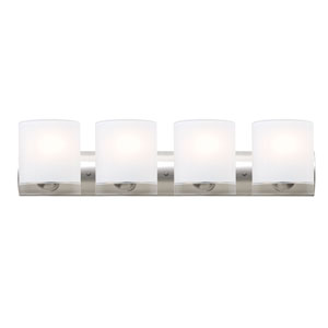 Celtic Satin Nickel Four-Light LED Bath Vanity with Opal Glossy Glass