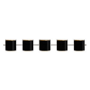 Pogo Satin Nickel Five-Light Bath Fixture with Black and Inner Gold Glass