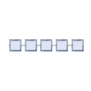 Series 7735 Opal/Silver Foil Satin Nickel Five-Light Bath Fixture