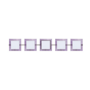 Alex Satin Nickel Five-Light LED Bath Vanity with Opal and Amethyst Glass