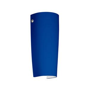 Tomas Satin Nickel One-Light LED Bath Sconce with Cobalt Blue Matte Glass