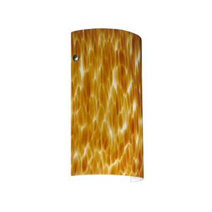 Tamburo 7 Satin Nickel One-Light LED Bath Sconce with Amber Cloud Glass