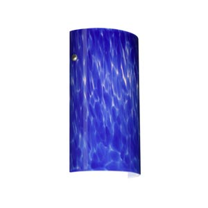Tamburo 7 Satin Nickel One-Light Sconce with Blue Cloud Glass