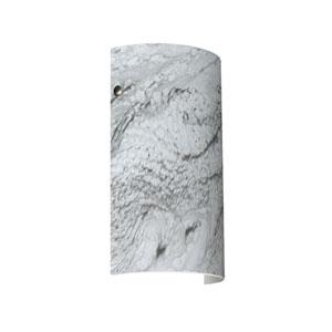 Tamburo 7 Satin Nickel One-Light LED Bath Sconce with Marble Grigio Glass