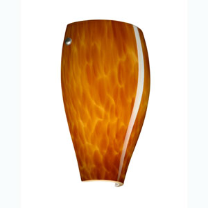 Chelsea Satin Nickel One-Light Sconce with Amber Cloud Glass