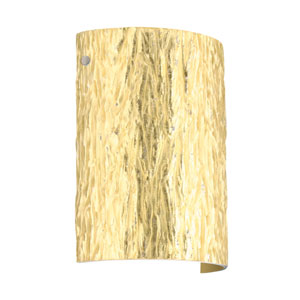 Tamburo 8 Satin Nickel One-Light LED Bath Sconce with Stone Gold Foil Glass