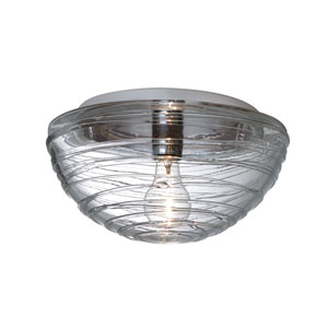 Wave 1 Aluminum One-Light Incandescent 120v Flush Mount with Smoke Glass