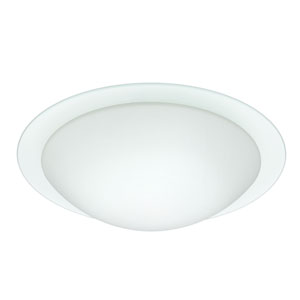 Ring Aluminum Three-Light Incandescent 120v Flush Mount with White and Clear Glass