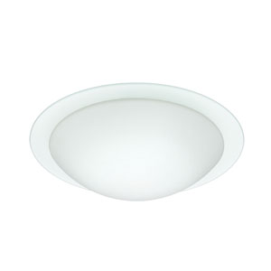 Ring Aluminum Two-Light Incandescent 120v Flush Mount with White and Clear Glass