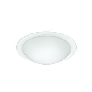Ring Aluminum One-Light Incandescent 120v Flush Mount with White and Clear Glass