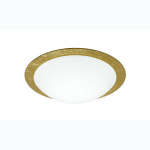 Ring Gold One-Light Flush Mount with White/Gold Ring Glass