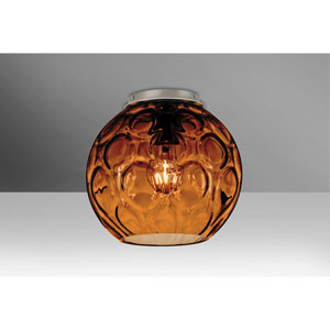 Bombay Satin Nickel One-Light Flush Mount with Amber Glass