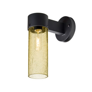 Juni 10 Black One-Light Outdoor Wall Sconce with Gold Bubble Glass