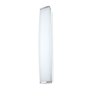 Miranda Chrome Three-Light Incandescent Wall Sconce with Satin White Glass