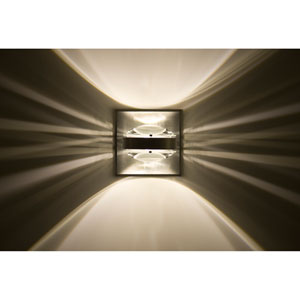 Optos Brushed Aluminum One-Light LED Wall Sconce with Clear Lenses