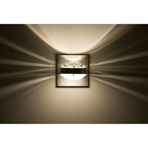 Optos Brushed Aluminum One-Light LED Wall Sconce with Clear and Frost Lenses