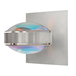 Optos Brushed Aluminum One-Light Halogen Wall Sconce with Cool Dicro Glass