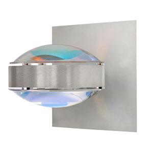 Optos Brushed Aluminum One-Light Halogen Wall Sconce with Cool Dicro and Warm Dicro Glass