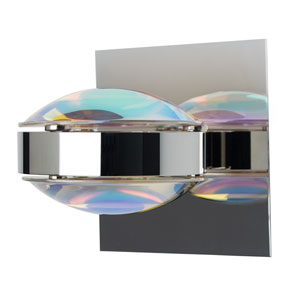 Optos Chrome One-Light Halogen Wall Sconce with Cool Dicro and Warm Dicro Glass