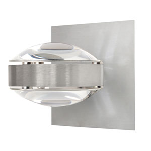 Optos Brushed Aluminum One-Light Halogen Wall Sconce with Clear Glass