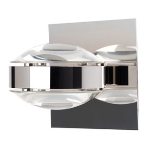 Optos Chrome One-Light Halogen Wall Sconce with Clear Glass