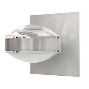 Optos Brushed Aluminum One-Light Halogen Wall Sconce with Clear and Frost Glass