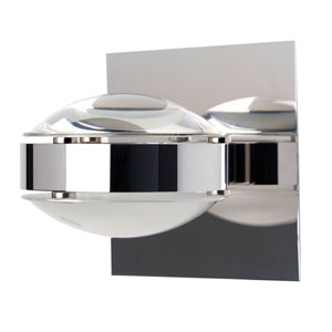 Optos Chrome One-Light Halogen Wall Sconce with Clear and Frost Glass