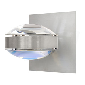 Optos Brushed Aluminum One-Light Halogen Wall Sconce with Clear and Warm Dicro Glass