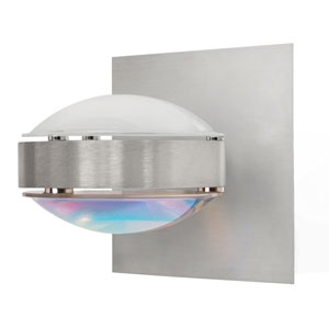 Optos Brushed Aluminum One-Light Halogen Wall Sconce with Frost and Cool Dicro Glass