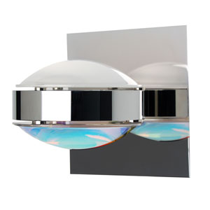 Optos Chrome One-Light Halogen Wall Sconce with Frost and Cool Dicro Glass