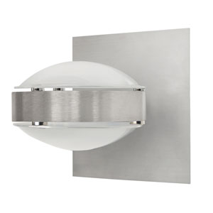 Optos Brushed Aluminum One-Light Halogen Wall Sconce with Frost Glass
