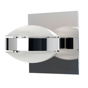 Optos Chrome One-Light Halogen Wall Sconce with Frost Glass